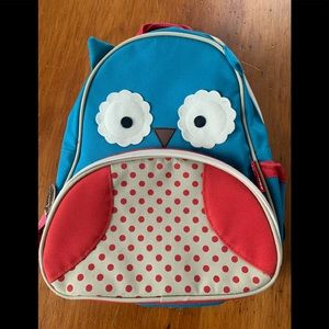 Skip hop teal and red owl backpack